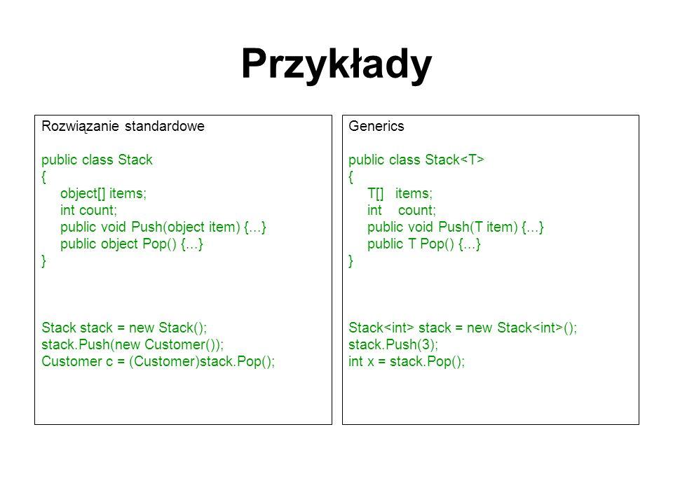 Przykłady Rozwiązanie standardowe public class Stack { object[] items;